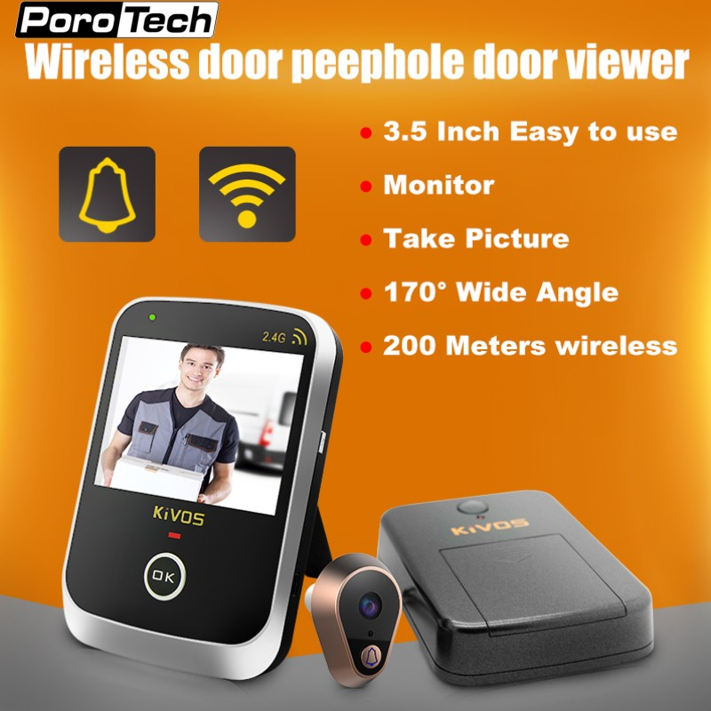 KDB307A 3.5 inch Monitor Wireless Door Eye Peephole Door Viewer 2.4GHz Wireless Video Doorbell Camera for Home Villa Apartment