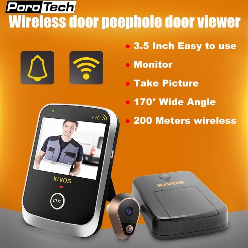 KDB307A 3.5 inch Monitor Wireless Door Eye Peephole Door Viewer 2.4GHz Wireless Video Doorbell Camera for Home Villa Apartment