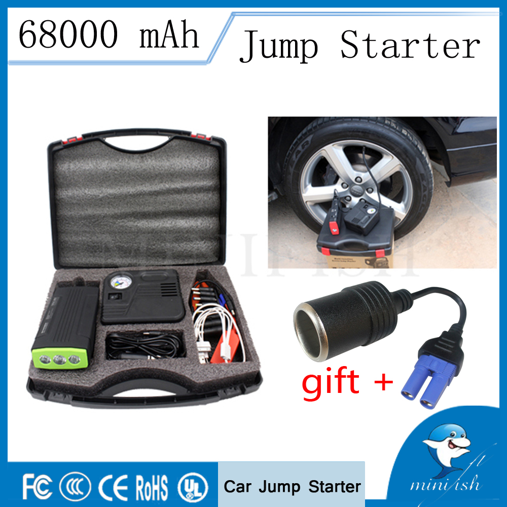 Emergency Power Bank Mini Car Jump Starter 600A 12V Portable Car Auto Electric Pump Air Compressor Tire Inflator 150PSI image