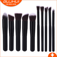 GUJHUI 10 cái màu đen cổ điển MINI đen tóc trang điểm chuyên nghiệp bàn chải phù hợp với blush mắt cơ sở bóng brush tool set Trang Điểm bàn chải