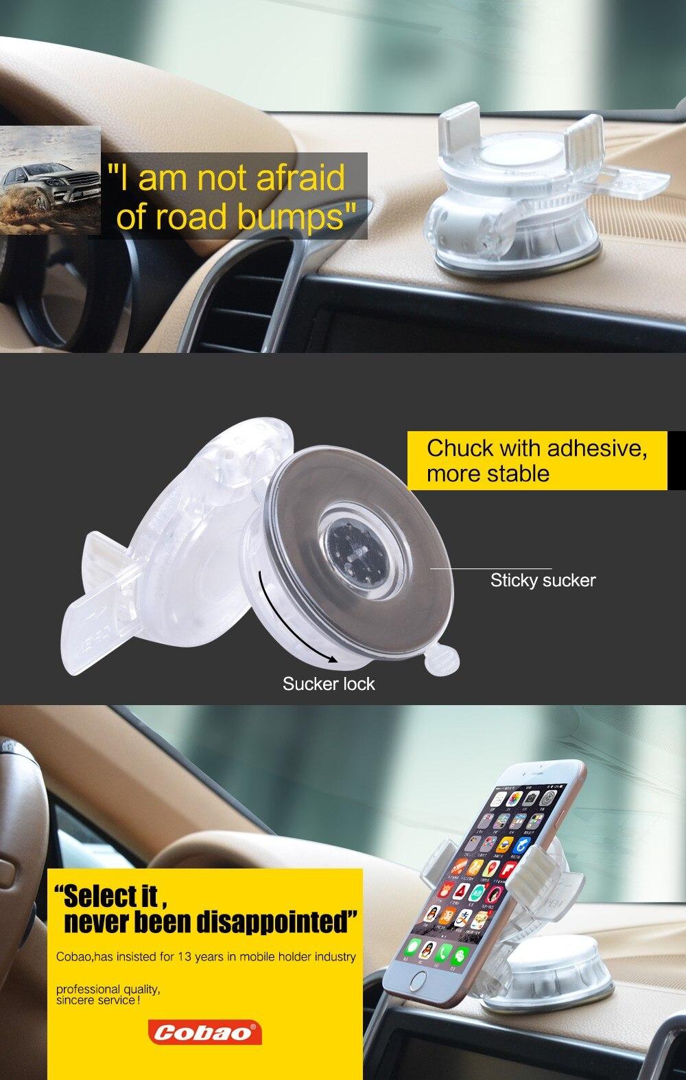 cobao כלי השולחן רכב רכוב טלפונים ניידים תמיכה מחזיק אוניברסלי שמשת הרכב שולט להחיל עבור iphone4/5/6splus