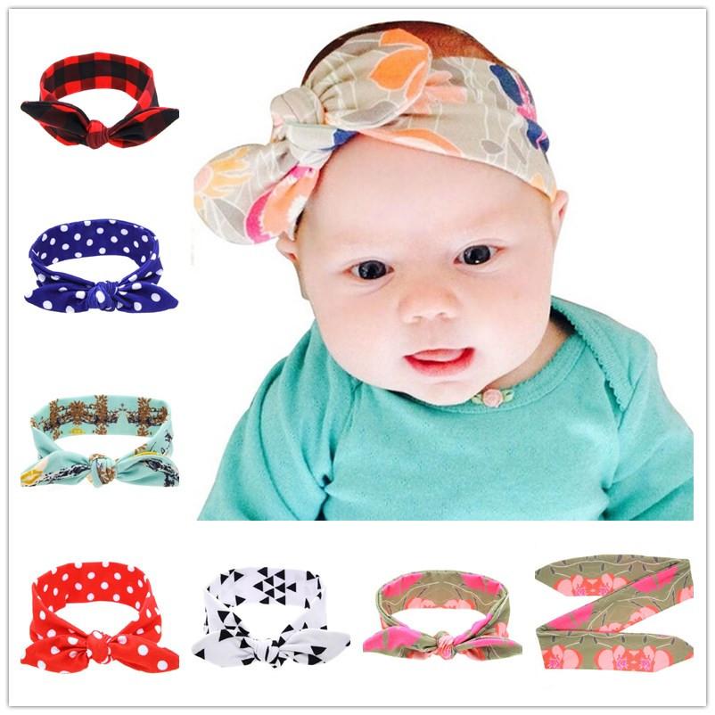 Cute Baby Girl Cloth Headband Bowknot Headwear Children Headdress Rabbit Ears Bow Elastic Hair Band Headwrap  1pc HB512