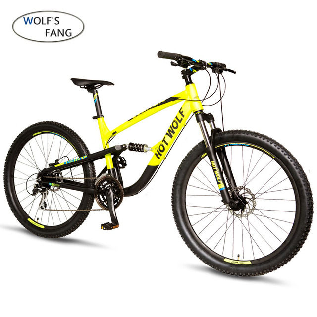 Lobo fang 24 velocidade da liga de Alumínio mountain bike de 27.5 polegadas quadro de bicicleta de estrada Garfo Mola Dianteira e Traseira mecânica