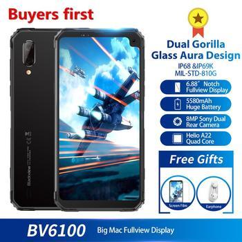 Перейти на Алиэкспресс и купить Смартфон Blackview BV6100 Dual Gorilla 6,88 дюйма, MT6761, 3 Гб + 16 ГБ, Android 9,0, IP68 водонепроницаемый, 5580 мАч, NFC, 4G мобильный телефон, 2019