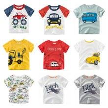 5caa512bc92c0 2019 العلامة التجارية الصيف أعلى الطفل الصبي T قميص حفارة التطريز سيارة  رمادي قصيرة الأكمام الفتيان تي شيرت القطن الخالص الاطفال.