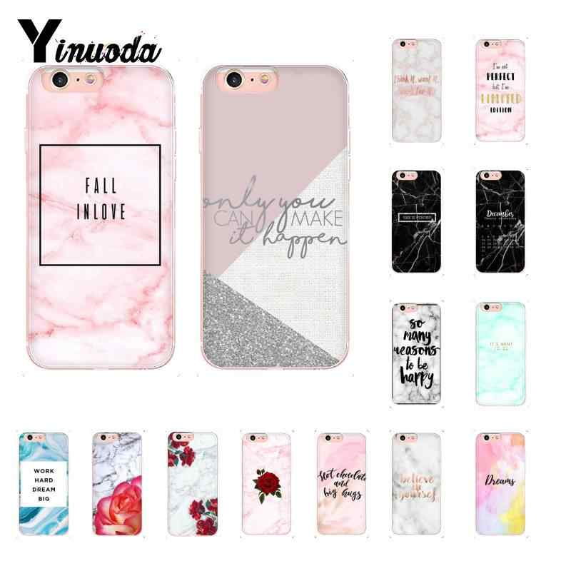 Yinuoda Gold marble pink love cute motivation Quotes Word DIY Painted Phone Case for iPhone 8 7 6 6S Plus X XS MAX 5 5S SE XR 10