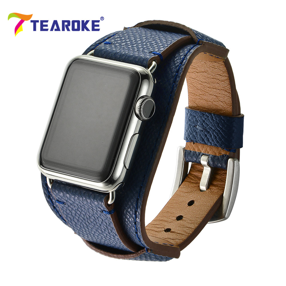 TEAROKE 13 Colors Wide Leather Watchband For Apple 2017 Design Replacement Bracelet Watch Band Strap 38mm 42mm for iwatch 1 2 6 colors luxury genuine leather watchband for apple watch sport iwatch 38mm 42mm watch wrist strap bracelect replacement