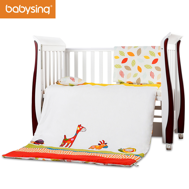 baby bedding set 100 cotton nursery cot bed quilt pillow. Black Bedroom Furniture Sets. Home Design Ideas