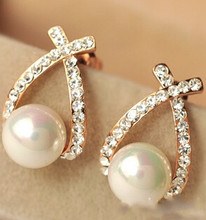 2017 Crystal Rhinestone simulated pearl Bowknot Design Girls Ear Stud Earring Earing Fashion Jewelry Women earrings e0156(China)