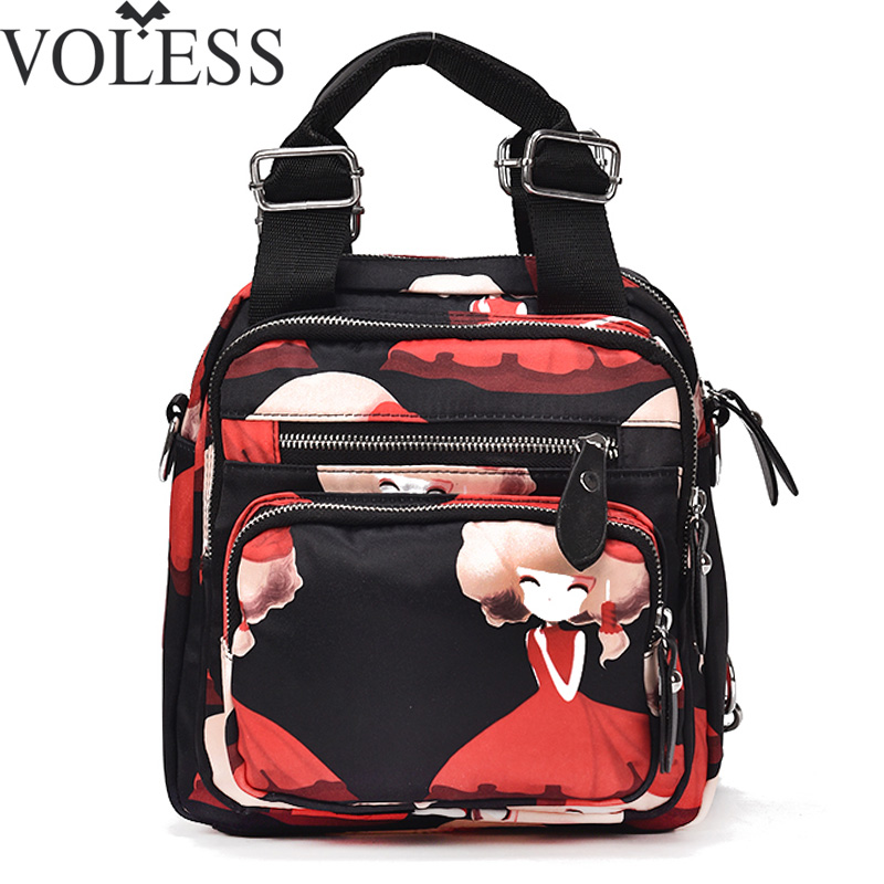 VOLESS Women Multifunction Backpack Oxford Backpacks Cartoon Mini Backbag Female Zipper School Bag Girl Travel Bag Mochila