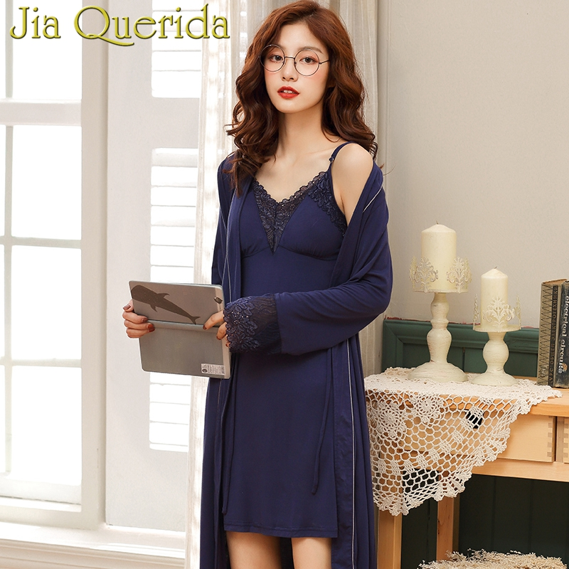 J Q Female Robes 2019 New Modal Robe Gown Sets Women Classy Home Clothing Chic Lace