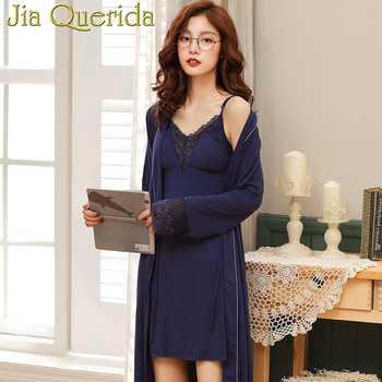 J&Q Female Robes 2019 New Modal Robe & Gown Sets Women Classy Home Clothing Chic Lace Trim Spaghetti Strap Cami Dress Bathrobe - DISCOUNT ITEM  43 OFF Underwear & Sleepwears