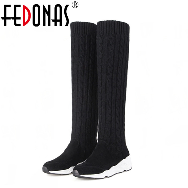 FEDONAS Slim Women Genuine Leather Boots Sexy Over The Knee High Snow Boots Women Fashion Winter Thigh High Boots Shoes Woman ryvba woman knee high snow boots fashion thick plush warm thigh high boots winter boots for women shoes womens female sexy flats
