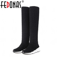 FEDONAS Women Thick Heeled Genuine Leather Brand Over The Knee Boots Autumn Winter Warm Platform Pointed