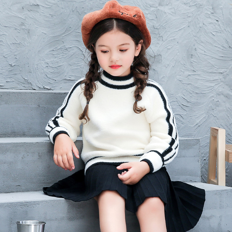 Girls Sweater Skirt Sets 4 - 14 Year Long Sleeve White Black Stripe Woolen Clothing Set Kids Sweater Autumn Winter Clothes 56A6A easter sparkle 3rd hot pink white dot top rainbow stripe skirt set 1 8y mamh170