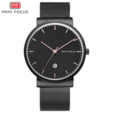 MINI FOCUS Simple Men Watches 2019 Luxury Brand Mesh Stainless Steel Watch Waterproof Mens Wristwatch Quartz Clock