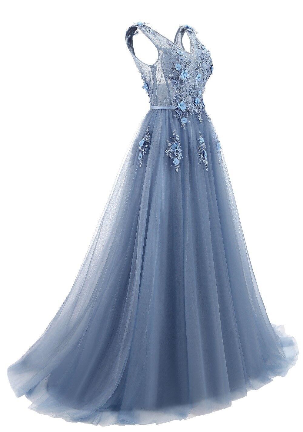 Elie Saab bleu robes De soirée 2019 grande taille Tulle Appliques longues robes formelles robes col en V à lacets sans manches Robe De soirée - 3