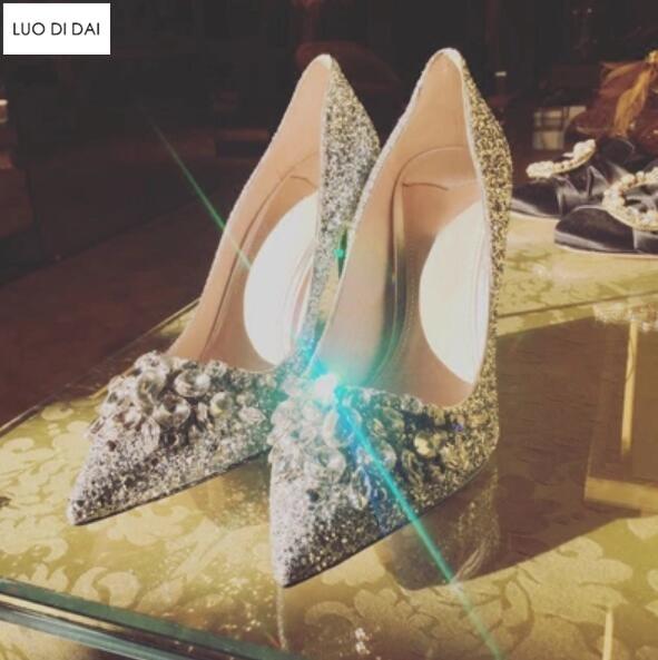 Stud Brillo Cristal Alto Vestir Tacón Diamante plata 2019 Fiesta Zapatos Mujeres Las De Boda Fino Cuero Oro Nuevas Bombas anxazqOFw1