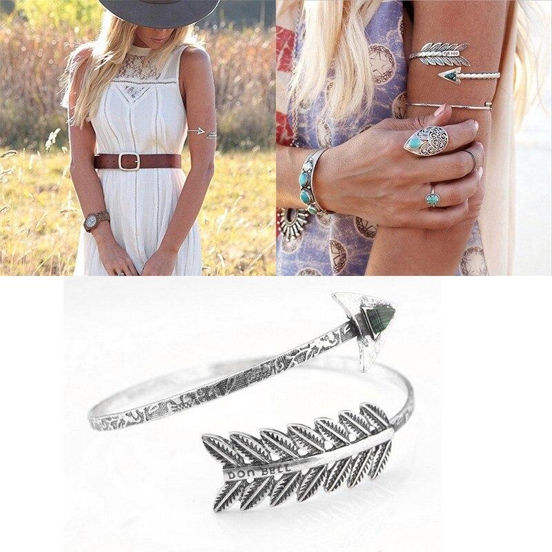 Bohemian Ethnic Love Bangles Charming Gem Cuff Bracelets Arrow Arm Cuff Bracelet Armband Indian Jewelry #84331