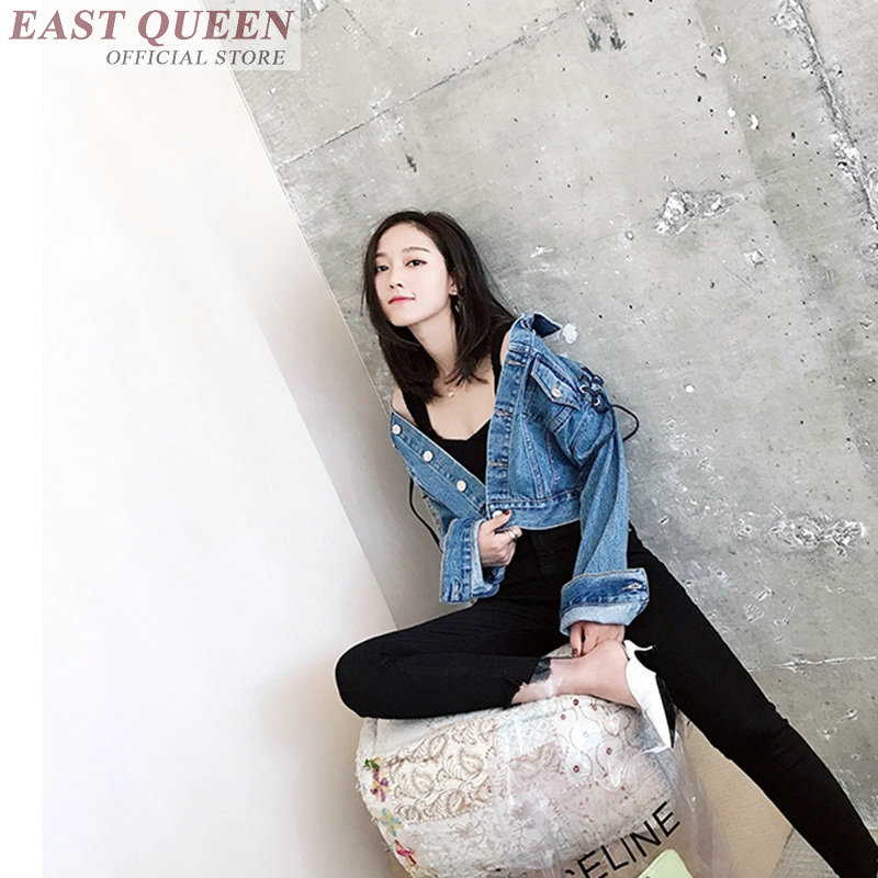 Jeans   jacket   for outerwear full sleeve slim solid denim tops turn-down collar lace up pockets fashion   basic     jacket   DD726 L