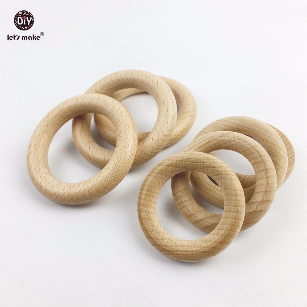 Let s Make Beech Wooden Bracelet 50pc Round Wood 54mm Teether DIY Bracelet Crafts Gift For
