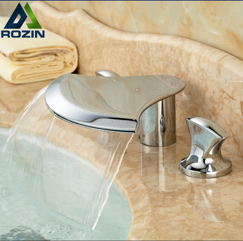 ФОТО Deck Mount Waterfall Bathroom Mixer Faucet Two Handles Chrome Brass Hot Cold Water Taps 3 Holes