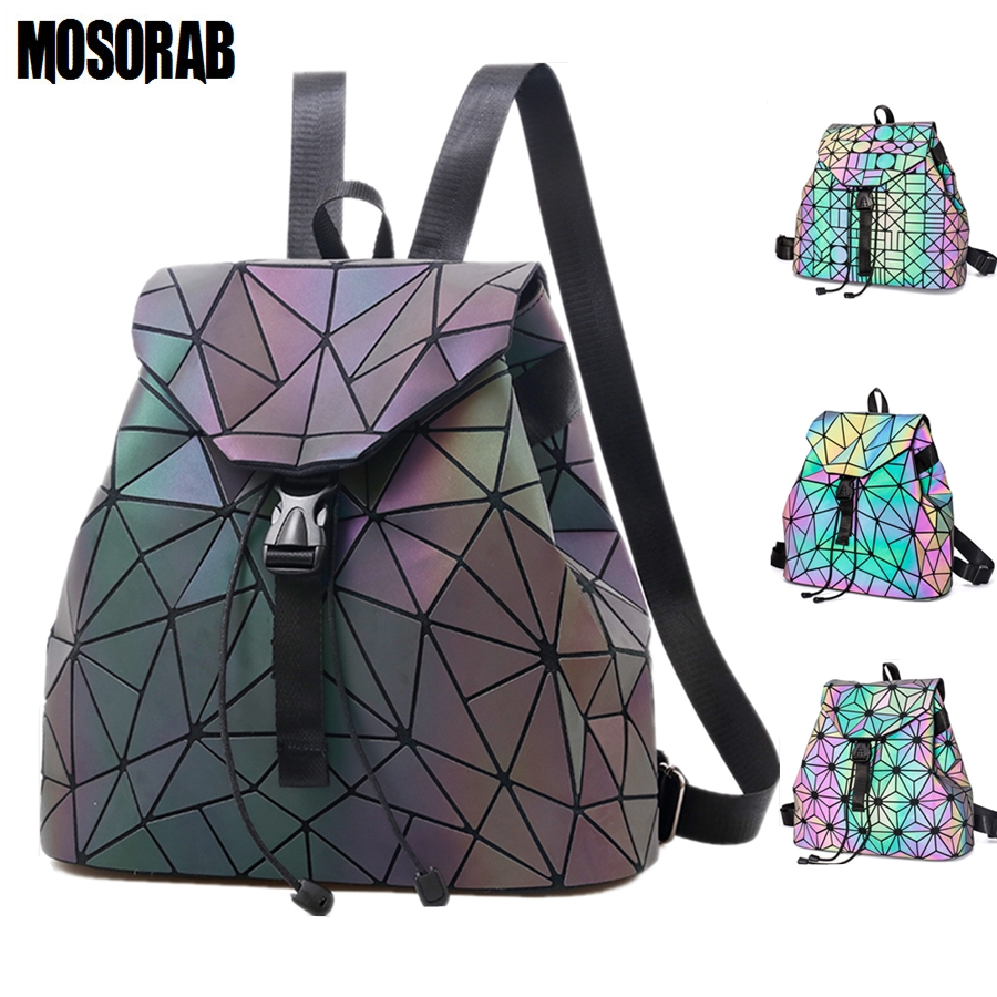 MOSORAB Women Laser Luminous Backpack School Hologram Geometric Fold Student School Bags For Teenage Girls holographic sac a dos aelicy mochila backpack women silver hologram laser backpack school bag leather holographic backpack multicolor sac a dos