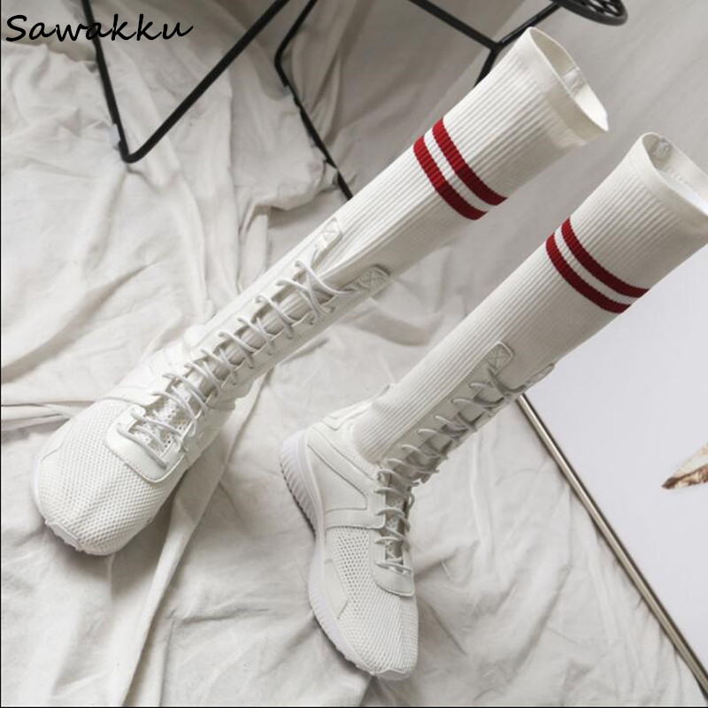White Black Stretch Knit Sock Boots Women Lace Up Stripe Knee High Platform Boots Fashion Breathable Woven Casual Shoes Woman new classic flat heels elastic knee high boots for women knitted casaul shoes white black stripe platform sneakers sock shoes