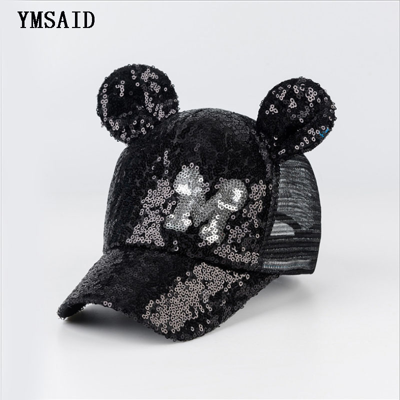 6d22f4f982a Ymsaid 2018 Child Hip Hop Baseball Cap Summer Sequin M Letters kids Sunhat  Boys Girls Snapback Mesh Caps For 2-8 Years Old
