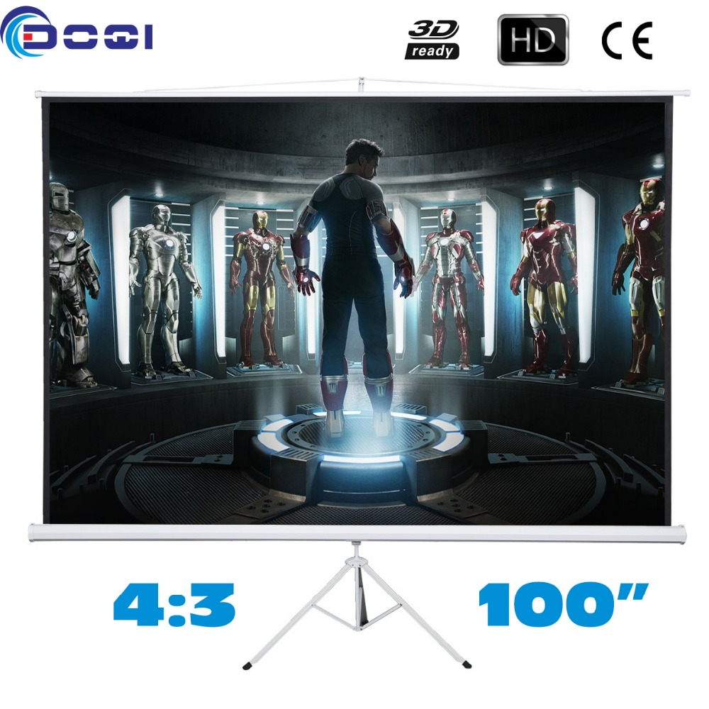 100 inches 4:3 Tripod Projection Screen HD Portable Floor stand Bracket Projector Screens Matt White Factory Supply 72 inches and the authenticity of the tripod white plastic screen projector projector screen