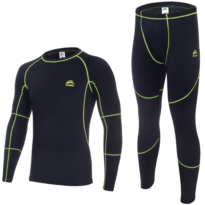 VEOBIKE Men's Autumn and Winter Fleece Thermal Underwear Outdoor Sports Cycling Bese Layer Clothing Set Free Shipping children autumn and winter underwear clothing set 100