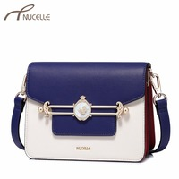 NUCELLE Women S Leather Shoulder Bags Ladies Fashion Panelled Messenger Bags Female Elegant Brief Flap Small