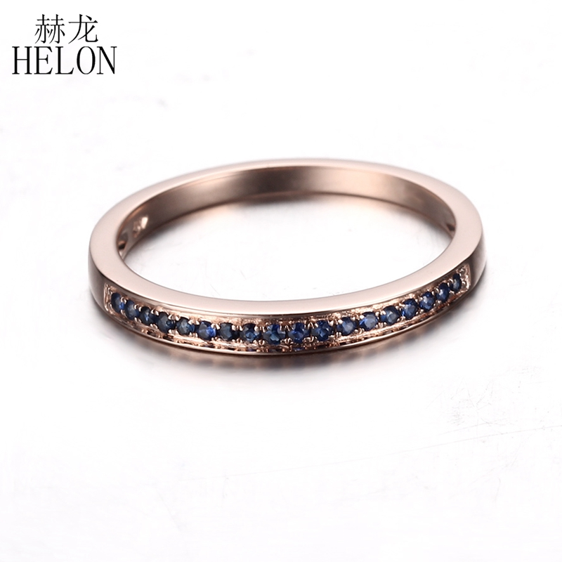 HELON Half Eternity Ring Solid 14k Rose Gold 0.18ct Natural Sapphires Women Engagement Wedding Band Trendy Fine Jewelry Gift