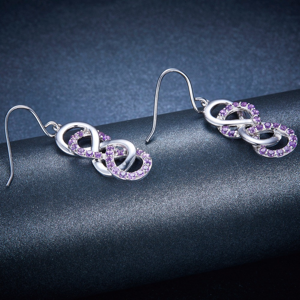 Hutang Natural Gemstone Amethyst Solid 925 Sterling Silver Infinite Dangle Earrings for Women's Gift Fine Elegant Jewelry New-in Earrings from Jewelry & Accessories    3