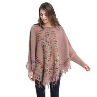 NIBESSER Winter Autumn Women Knitted Shawl Tassel Sweater Oversized Cape Poncho Loose Sweaters Pullover Irregularity Cloak