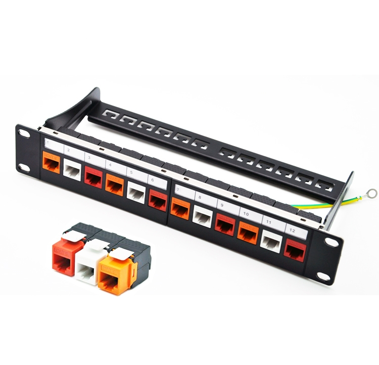10 Inch 12port CAT6 Gigabit Modular Patch Panel Incl. 12pcs RJ45 Tool-less Keystone Jacks (Mixed Color Jacks: Red+Orange+White)