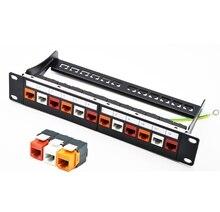 10 Дюймов 12 порт CAT6 Gigabit Модульная Патч-Панель Вкл. 12 шт. RJ45 Инструмент менее Keystone Jacks (Смешанный Цвет Разъемы: Красный + Orange + Белый)