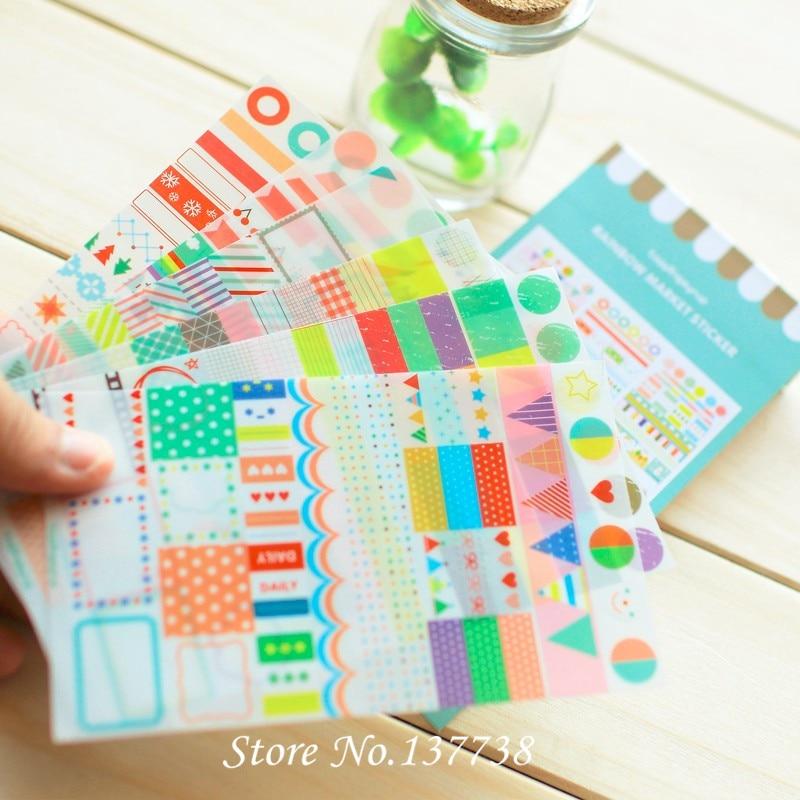 Venta caliente 6 hojas / set Nuevo Kawaii Rainbow Mercado Sticker - Juguetes clásicos