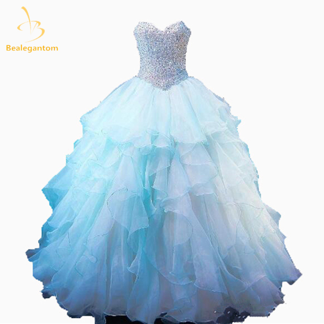 b301b7f29 Bealegantom Organza Sweetheart Quinceanera Dresses 2018 Ball Gown Beaded Sweet  16 Dress Debutante Vestidos De 15 Anos QA1181