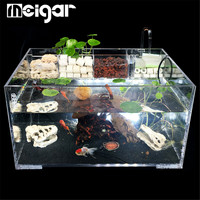 Clear Acrylic Aquarium Fish Tank with Water Pump Filter Home Office Desktop Decoration Goldfish Turtle Breeding Box Container