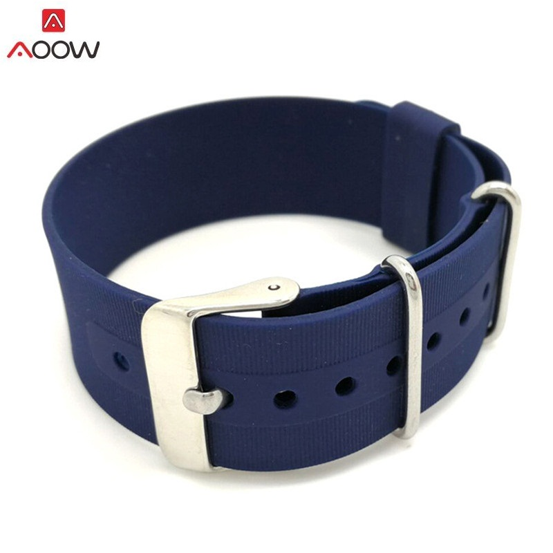 AOOW 18mm 20mm 22mm Nato Strap Watch Band Men Silicone Sport Watchband Diving Waterproof Replacement Watchband Strap Bracelets black silicone rubber watchband curved end for special watches sport style watch strap 22mm for replacement bracelets promotion