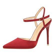 high heels sandals summer women shoes red girls sandales femme 2018 nouveau satin shallow mouth pointed sexy nightclub slim