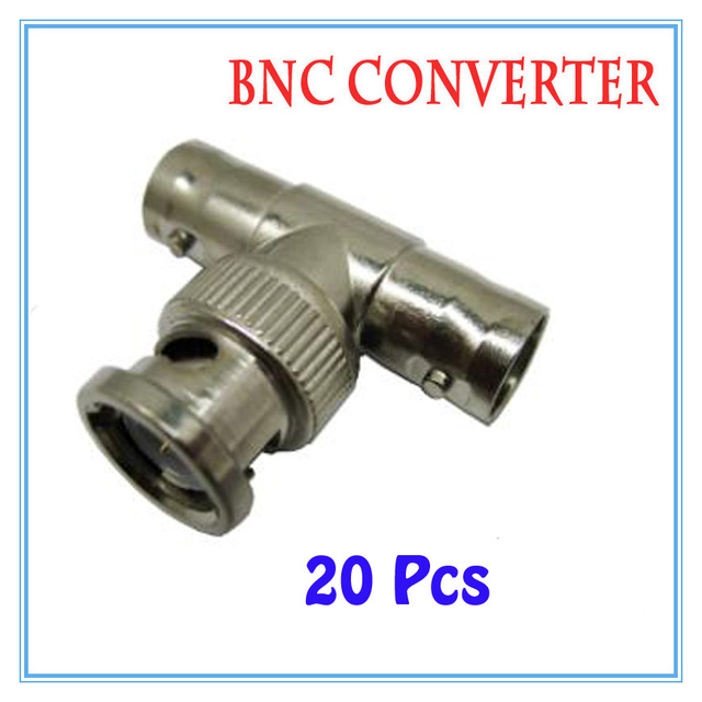 20Pcs BNC 2 female 1 male Connector Extender for CCTV Camera Security Video Surveillance System
