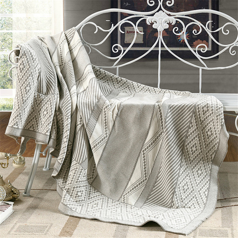 ФОТО Les Baoyi 1-Piece Cotton Grey Blanket Solid Color Plaid Throw Blanket On the Bed Queen Size Machine Washable 110*180cm