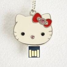 Jewelry Cle USB Flash Drive 64GB 128GB Diamond KT Cat Pendrive 1tb 2tb Necklace Disk On Key Memory Stick Gift Pen Drive 32GB 2.0