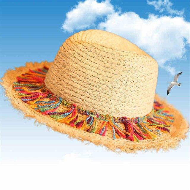cfcc5a1443057 100% Raffia Straw Women Sun Hat For Elegant Lady Summer Wide Brim Panama Hat  With Tassel Queen Sunbonnet Beach Sunhat Fedora Cap