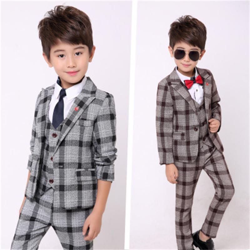 blazers for boys Spring Kids Clothes Suit formal Plaid Coat +Vest+Pants 3pcs Set Boys Wedding Suit 24M12T boys suits for wedding 4pcs set boys clothing set gentleman kids plaid shirt with vest and bow and pants fashion wedding boys suit baby boys clothes