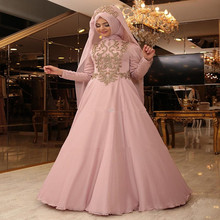 2017 Muslim Hijab Evening Gowns Prom Dresses Chiffon Appliques Beaded Arabic Kaftans Dresses Dubai Abayas Evening Gowns