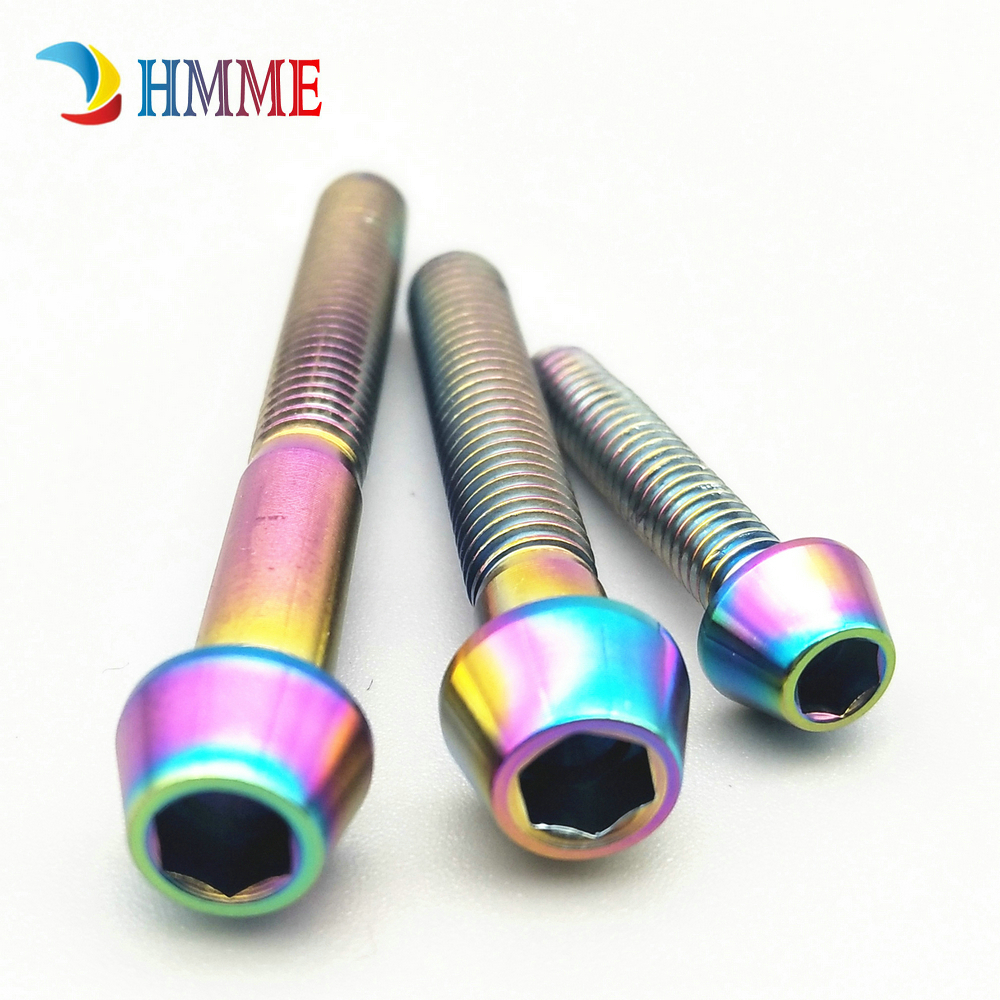 Titanium Ti Bolts M5 X 10 12 16 18 20 25 30 35 40 45 50 55 60Mm Allen Key Square Head Screw For Bicycle Stem Seatpost Gold M5 35mm