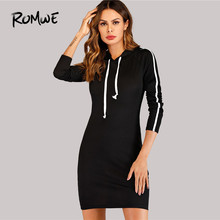 c07cee2385ad ROMWE Black Drawstring Contrast Taped Side Hooded Dress Women Clothes  Autumn Sporty 2018 Clothing Long Sleeve Sweatshirt Dress